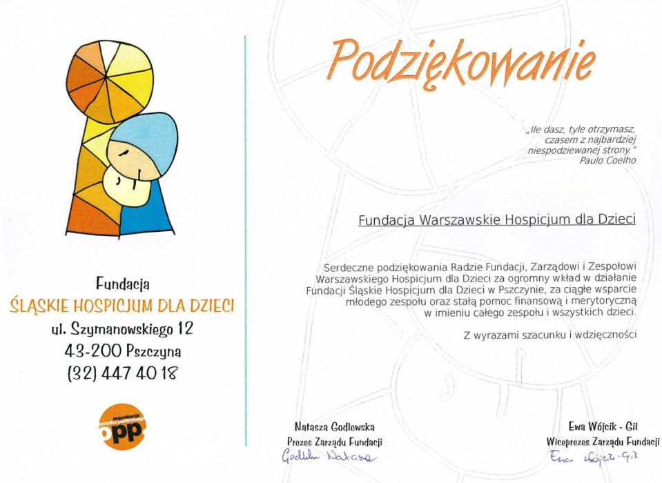 Rewelacyjny Podziękowanie od Śląskiego Hospicjum dla Dzieci - Fundacja TH05
